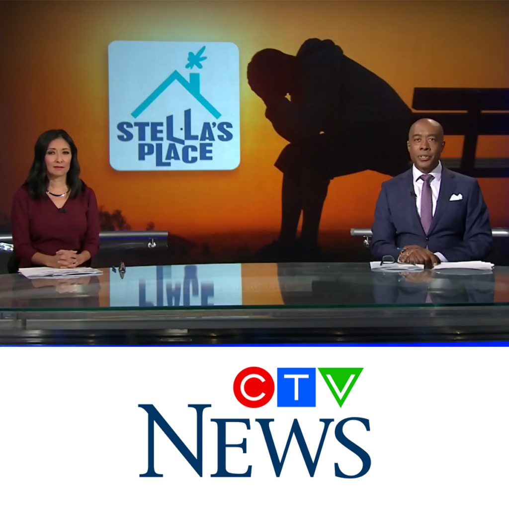 A screenshot from CTV News on a segment featuring Stella's Place