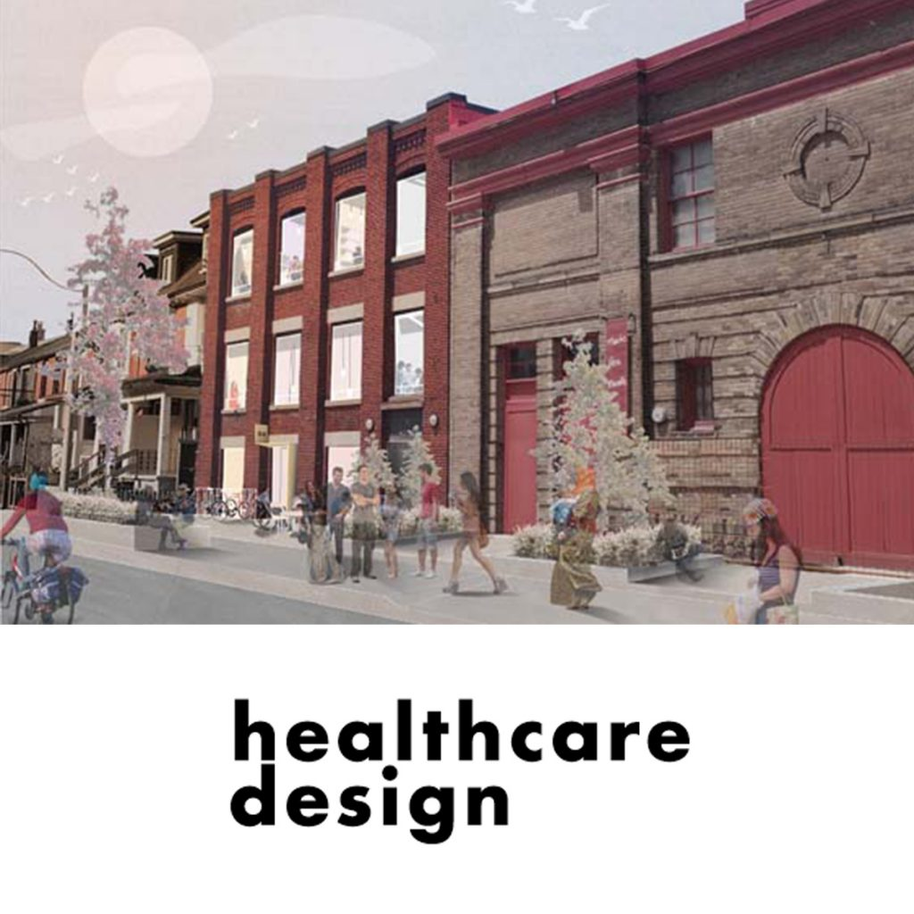A photo rendering of the future home of Stella's Place, with the healthcare design logo in black underneath