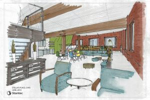 Architectural drawing of the new building cafe for Stella's Place featuring the entrance ramp and lounging chairs