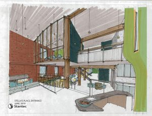 Architectural drawing of the new building cafe for Stella's Place