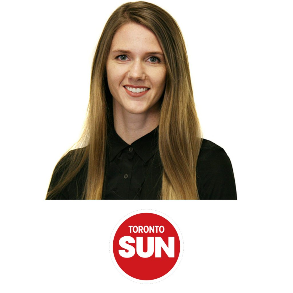 A portrait of Robyn Whitwham, with the red Toronto Sun logo underneath
