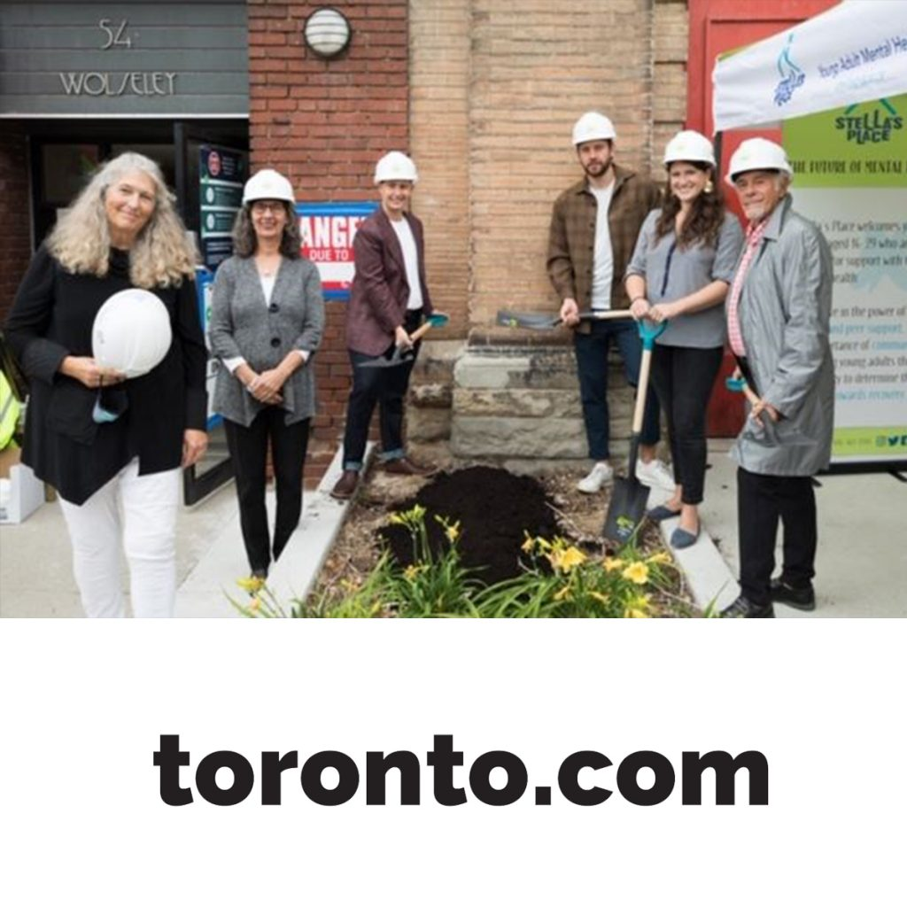 A photo of the Green-Sanderson family with their shovels in the ground outside of 54 Wolseley and underneath is the toronto.com logo in black.
