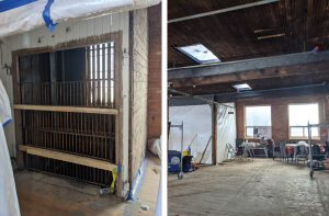 2 photos side by side of the construction site at Stella's Place new building. The photo on the left is a caged box that will be the new elevator. The photo on the right is a wideview of the second floor, showing windows on the wall and ceiling.