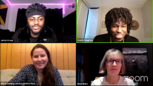 A screenshot of 4 people on a zoom panel discussion, all smiling.