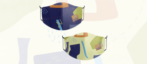 A mockup of 2 masks on a faded patterned background. Both masks have a pattern with different coloured organic shapes. The mask on the left has a dark purple background and the mask on the right has a lime green background.