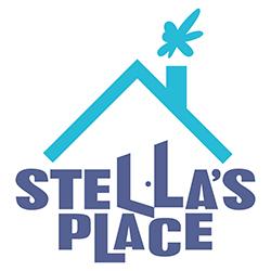 Purple and blue Stella's Place logo