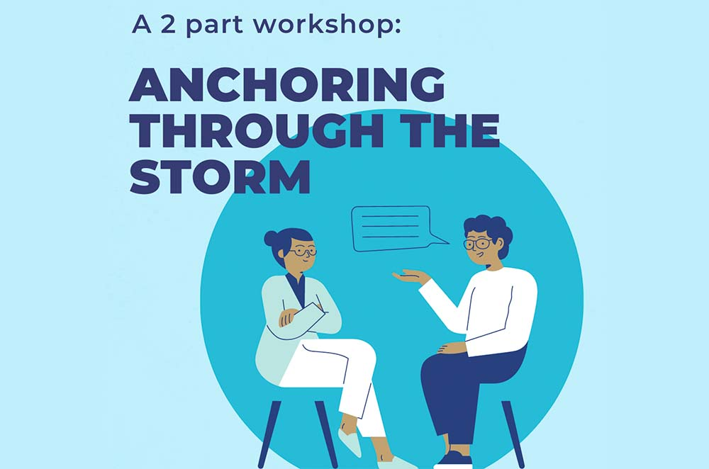 """A blue graphic with a bold purple heading at the top """"A 2 part workshop: Anchoring Through the Storm."""" Beside the text is a dark blue circle with an illustration of 2 people sitting on chairs and talking to each other overlapping on the background."""